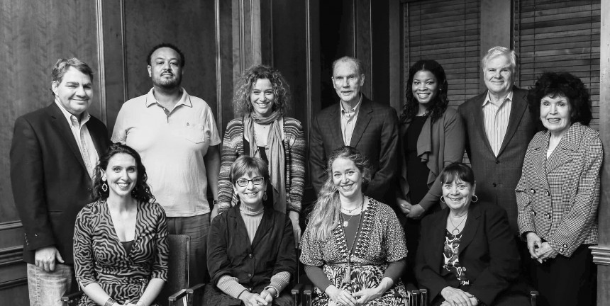 Top Row, Left to Right: Mike Lux, Amaha Kassa, Nicole Bagley, Joe Eldridge, Stacie Posey, Mike Trister, Mary King. Bottom Row, Left to Right: Anna Lefer Kuhn, Janet Shenk, Nancy Bagley, Marge Tabankin